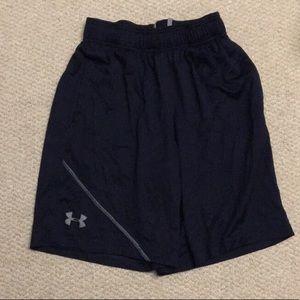 Navy blue long basketball shorts